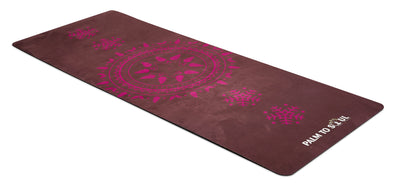 Vegan Suede with Bio-rubber backing yoga mat sun spirit design purple