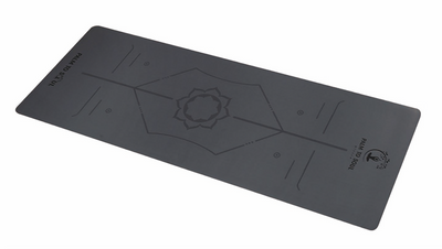 Hi Grip Bio-rubber alignment yoga mat Grey
