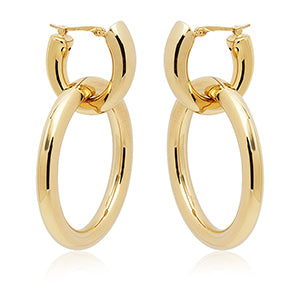14k Oval and Loop Earrings