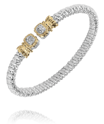 4mm Square Gold and Diamond Open Bracelet