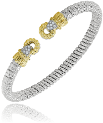 4mm Diamond and Gold Open Bracelet