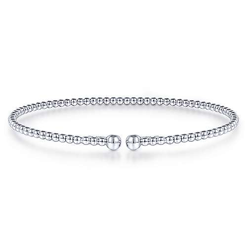 14k White Gold Beaded Bangle
