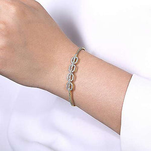 14k YG Cuff With Pave Diamond Links Bangle