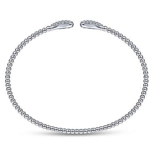 14k White Gold & Diamond Bangle