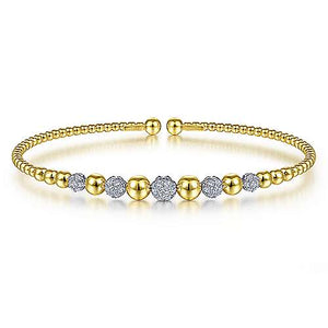 Beaded Pave Diamond Station Bangle