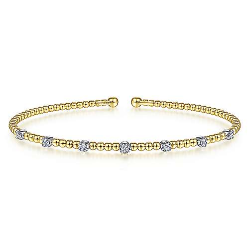 Beaded Bangle With Diamond Stations