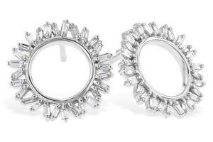 Baguette Diamond Open Circle Stud Earrings