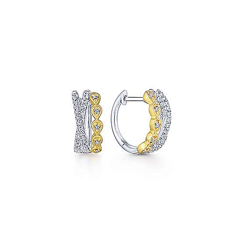 14k Yellow-White Gold Diamond Huggie Earrings