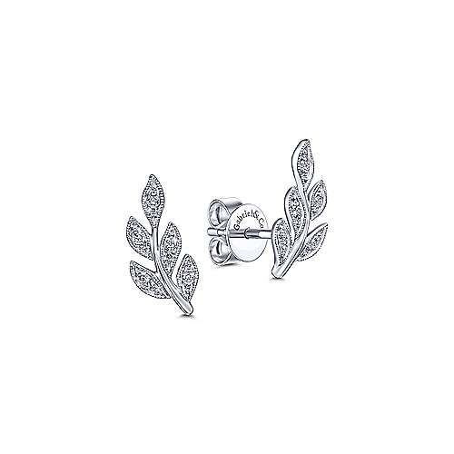 Diamond Leaf Stud Earrings