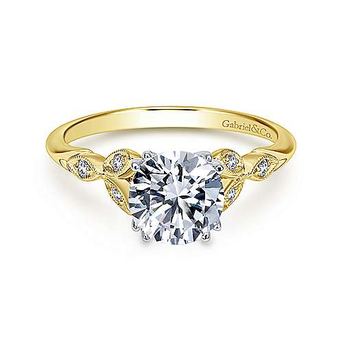 14k Yellow-White Gold Vintage Semi Mount