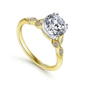 14k Yellow-White Gold Vintage Engagement Ring