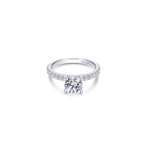 14k White Gold Classic Diamond Semi Mount