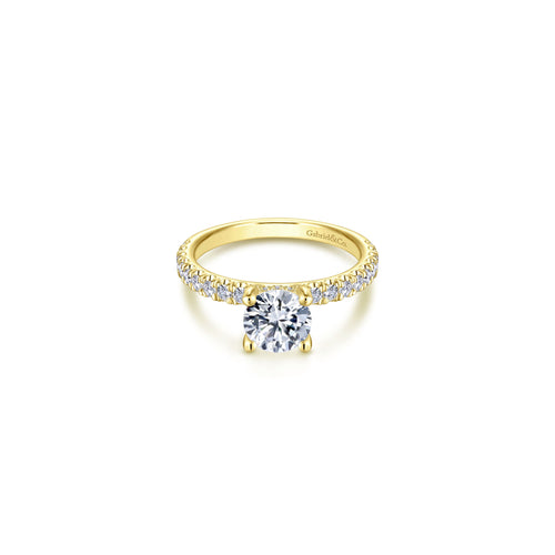 14k Yellow Gold Classic Diamond Semi Mount