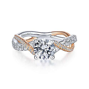 14k White-Rose Twisted Diamond Semi Mount