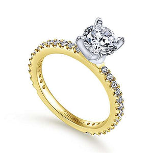 14k Yellow-White Gold Straight Line Diamond Semi Mount