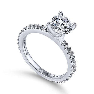 14k White Gold Diamond Semi Mount