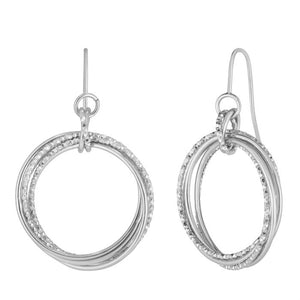 Diamond Cut Drop Earrings WG