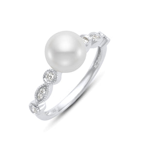 Pearl & Diamond Milgrain Ring - White Gold