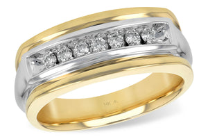 Gents Two Tone Diamond Band
