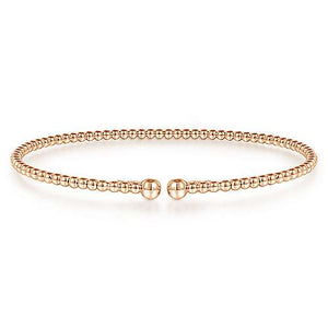14k Rose Gold Beaded Bangle