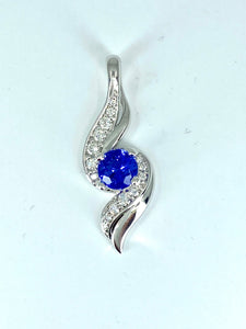 Ladies Blue Topaz & Diamond Pendant