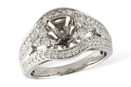 14k Diamond Milgrain Ring