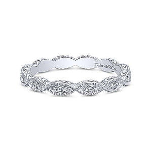Diamond Marquise Station Wedding Band - White Gold
