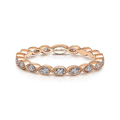 14k Rose Gold Marquise Station Band
