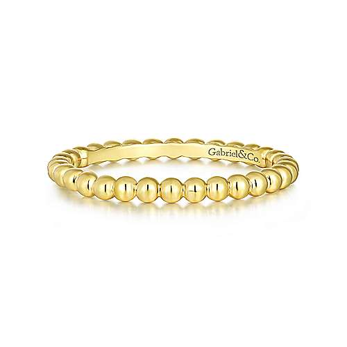 14k Yellow Gold Beaded Stackable Band