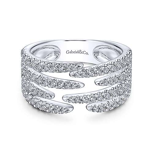 14k White Gold Open Wide Band Pave Ring
