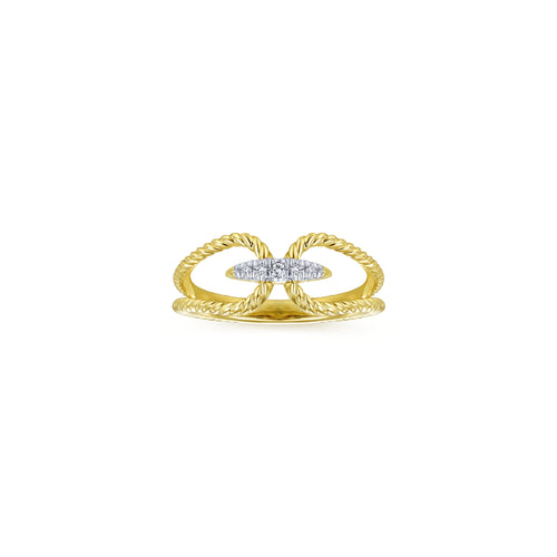 14k Yellow Gold and Diamond Bar Ring