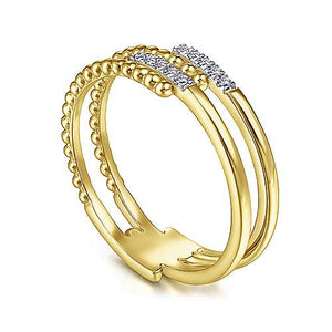 14k Yellow Beaded and Diamond Open Ring