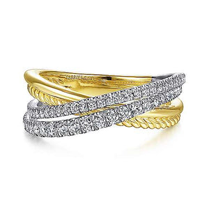 14k Yellow Gold and Diamond Crossover Ring