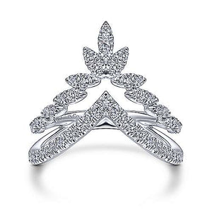 14k White Gold Double V Ring