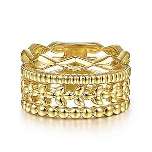 Multi Stack Yellow Gold Fashion Ring