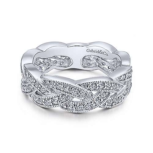 14k White Gold Diamond Braided Ring