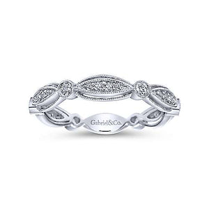 Scalloped Stackable Diamond Wedding Band