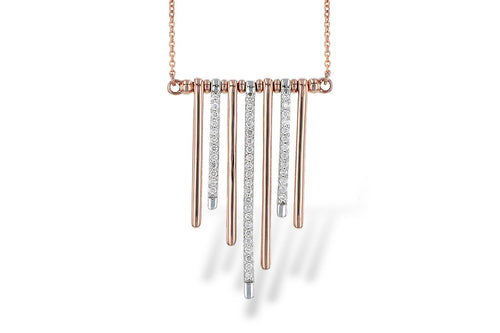 Rose Gold & Diamond Bar Dangle Necklace
