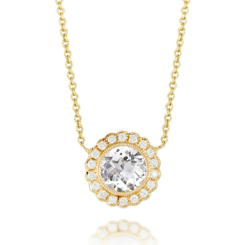 White Topaz & Diamond Necklace
