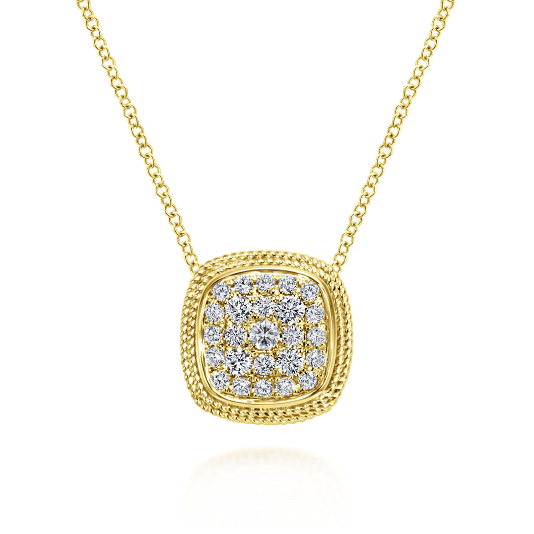 Yellow Gold Pave Diamond Necklace