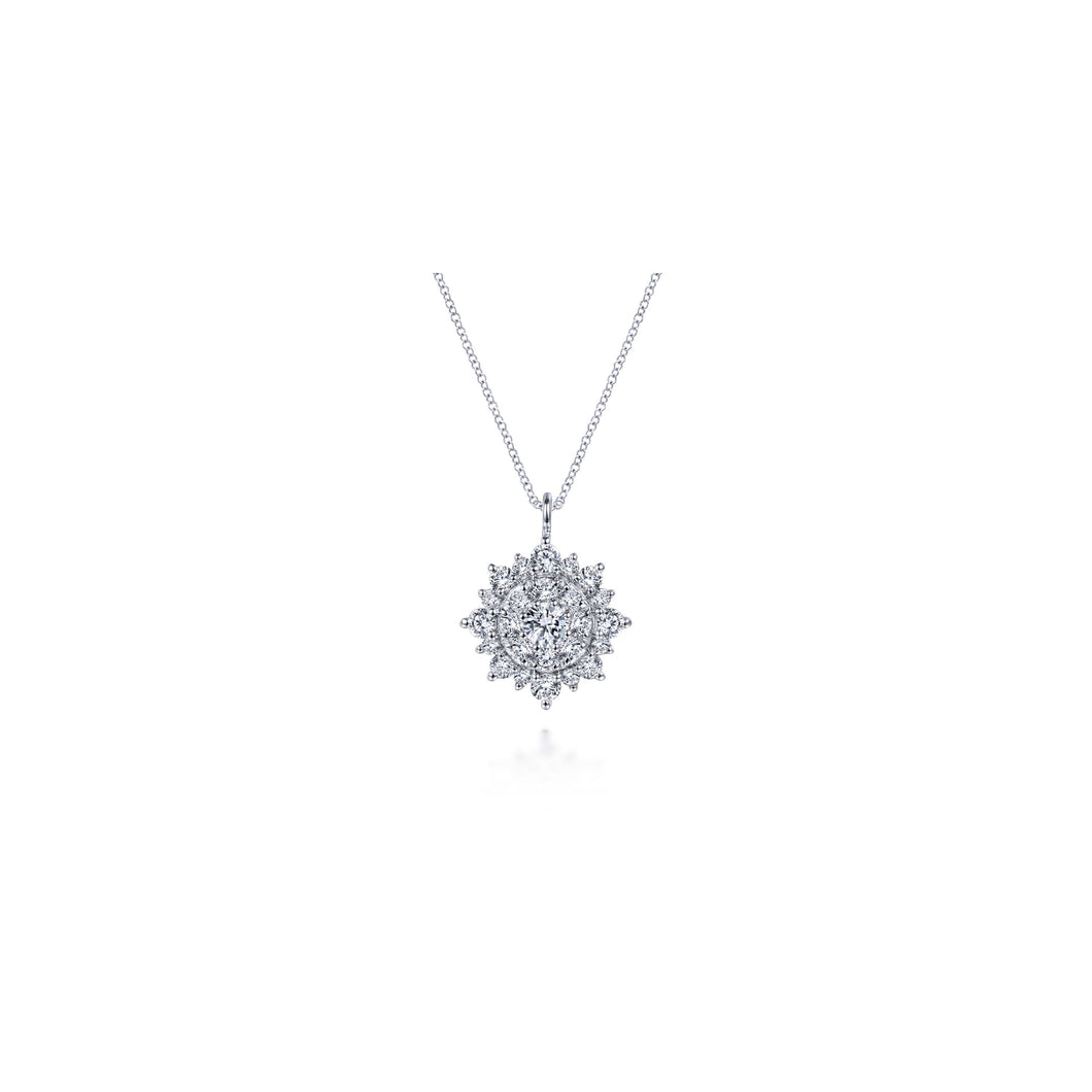 Diamond Cluster Sunburst Pendant