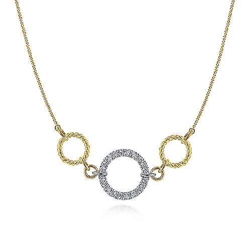 14k Yellow Gold and Pave Diamond Choker Necklace