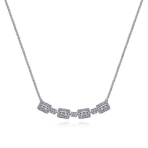 Rectangular Baguette and Diamond Station Necklace