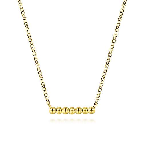 14k Yellow Gold Beaded Bar Necklace