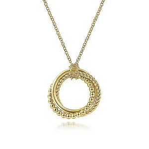 14k Yellow Gold Twisted Rope & Multi Circle Necklace
