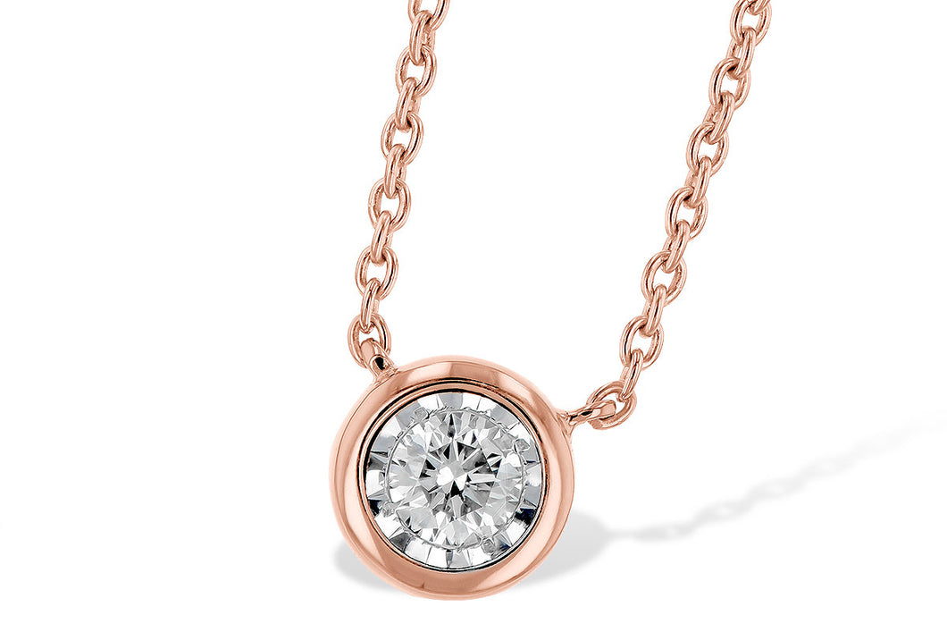 Bezel Set Diamond Necklace - Rose