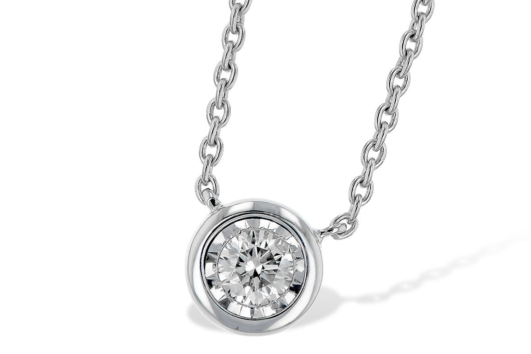 Bezel Set Diamond Necklace - White (.24 ct)