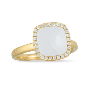 White Agate & Diamond Ring