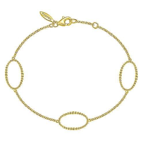 14k Yellow Chain Bracelet Oval Stations