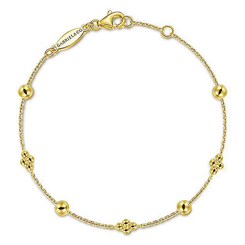 14k Yellow Single Bead Station Bracelet